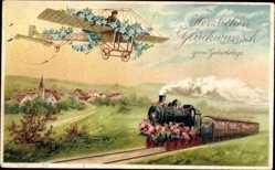 Präge Ak Glückwunsch Geburtstag, Monoplan, Flugzeug, Dampflokomotive