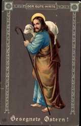 Präge Ak Glückwunsch Ostern, Jesus mit Lamm als Hirte, EAS