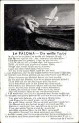 Lied Ak La Paloma, Die weiße Taube, Mich rief es an Bord