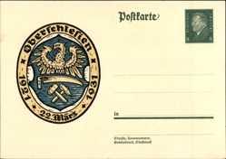 Ganzsachen Ak Oberschlesien, 22 März 1931, Wappen
