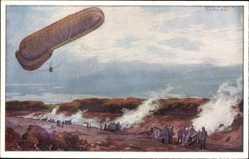 Künstler Ak Schulze, Hans Rudolf, Militärballon, Aufklärung, Artilleriefeuer