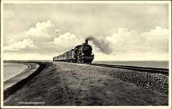 Postcard Hindenburgdamm, Eisenbahn in Fahrt, Dampflokomotive
