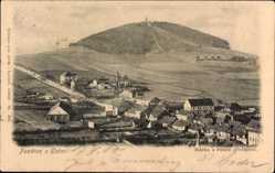 Postcard Klatovy Klattau Reg. Pilsen, Totalansicht der Ortschaft, Berg, Felder