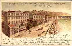 Litho Menton Alpes Maritimes, Grand Hotel de Menton, Husson, Straßenpartie
