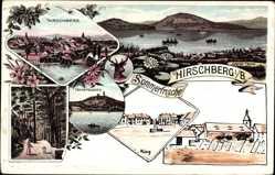 Litho Hirschberg am See Reg. Reichenberg, Josefsanlagen, Tschepelberg