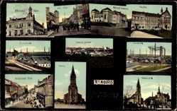 Postcard Kladno Mittelböhmen, Kostel, Namestie, Poldina Hute, Realka, Zelezarno
