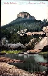 Postcard Sächsische Schweiz, Lilienstein von der Elbe aus, Elbdampfer Sachsen