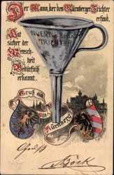 Wappen Litho Nürnberg in Mittelfranken Bayern, Nürnberger Trichter