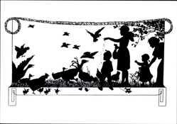 Scherenschnitt Ak Vogelfütterung, Gänse, Hühner, Tauben, Kinder