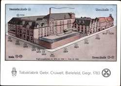 Künstler Ak Bielefeld, Tabakfabrik Gebr. Crüwell, Neustädter Straße,Obern Straße