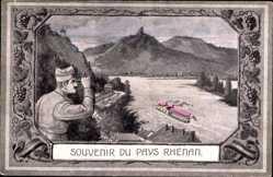 Passepartout Ak Souvenir du Pay Rhénan, Rhein, Franz. Beobachtungsposten