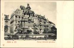Postcard Köln am Rhein, Blick auf das Kaiser Wilhelm Denkmal