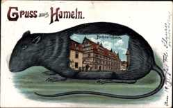 Ratten Litho Hameln, Blick auf das Hochzeitshaus, Mäusefängerstadt