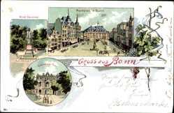 Litho Bonn in Nordrhein Westfalen, Marktplatz, Koblenzer Turm, Arndt Denkmal
