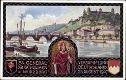 Künstler Ak Würzburg am Main Unterfranken, 54. Generalversammlung d Kath. 1907