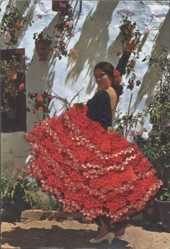 Material Ak Frau in spanischer Tracht, Rock, Flamenco, Spanischer Tanz