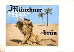 Künstler Ak Olshausen, K., Löwe in der Wüste trinkt Münchner Bräu