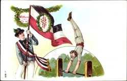 Litho Wilkommen, Gut Heil, Turner an der Stange, Banner