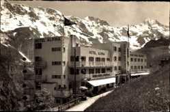 Postcard Mürren Kt. Bern Schweiz, Hotels Alpina und Edelweiss, Gebirge