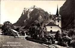 Postcard Grindelwald Kt. Bern Schweiz, Blick auf die Kirche und das Wetterhorn