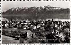 Postcard Pully Kt. Waadt Schweiz, Blick auf den Ort und die Alpen, See