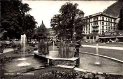 Postcard Interlaken Kt. Bern Schweiz, Höhenpromenade, Springbrunnen