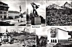 Postcard Schwyz Stadt Schweiz, Totale, Bundesbriefarchiv, Denkmal, Marktplatz