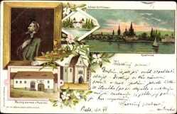 Litho Konstanz am Bodensee, Johannes Hus, Burg Gottlieben, Geburtsshaus