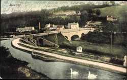 Postcard Avon Cliff South West England, Blick auf den Ort, Flusspartie, Schwäne