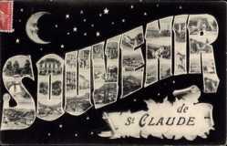 Buchstaben Ak St. Claude Jura, Mond, Brücke, berge, Trachten, Ort