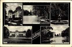 Postcard Lany Mittelböhmen, Parkpartie, Springbrunnen, Schloss, Teich