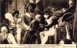 Künstler Ak Debret, Premiere Distribution des Croix de Legion d'Honneur,Napoleon