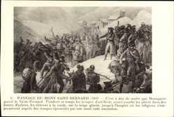 Künstler Ak Passage du Mont Saint Bernard 1800, Napoleon Bonaparte