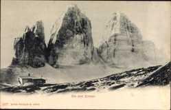 Ak Südtirol Italien, Blick auf die drei Zinnen, Sextener Solomiten