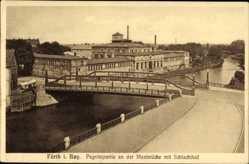 Postcard Fürth in Mittelfranken Bayern, Pegnitzpartie an der Maxbrücke mit Schlachthof