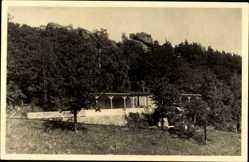 Foto Ak Blankenburg am Harz, Teilansicht vom Bibelheim, Felsen