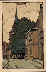 Steindruck Ak Aurich in Ostfriesland, Straßenpartie, Kirchturm, Häuser