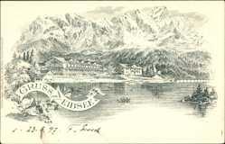 Litho Garmisch Partenkirchen in Oberbayern, Eibsee, Gebirge, Gebäude