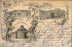 Litho Bad Heilbrunn im Kreis Bad Tölz Wolfratshausen, Kirche, Adelheidsquelle