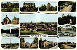 Ak Freiberg im Kreis Mittelsachsen, Justizgebäude, Albertpark, Donatsturm