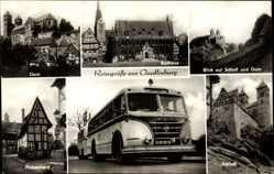 Postcard Quedlinburg im Harz, Dom, Rathaus, Bus, Finkenherd, Schloss