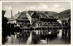 Postcard Ilsenburg am Nordharz, Gasthaus zu den roten Forellen, Schwäne