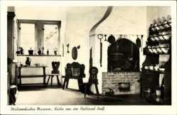 Ak Stralsund in Mecklenburg Vorpommern, Museum Innen, Küche Halbinsel Darß