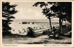 Postcard Ostseebad Bansin Heringsdorf auf Usedom, Seebrücke, Strand, Körbe
