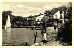 Postcard Krakow am See, Seepartie mit Blick auf des Seehotel, Segelboot