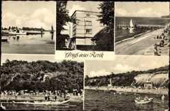 Postcard Ostseebad Rerik im Kreis Rostock, Strandpartie, Kurhaus, Steg, Boote