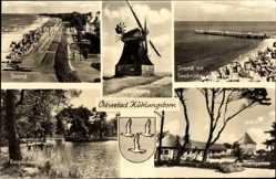 Wappen Ak Ostseebad Kühlungsborn im Kreis Rostock, Windmühle, Strand, Seebrücke
