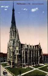 Ak Mühlhausen im Thüringer Unstrut Hainich Kreis, Obermarktskirche, Zieher