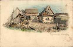 Künstler Litho Enders, A., Vogtländisches Bauernhaus, Wassertrog