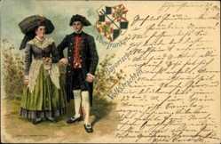 Wappen Litho Mann und Frau in Bayerischer Tracht, Oberfranken